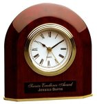 Piano Finish Rosewood Beveled Arch Clock Desk and Table Clocks