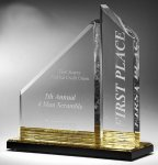 Multi-Faceted Dual Acrylic Column with Base Accent Color Employee Awards