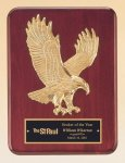 Rosewood Piano Finish Plaque with Gold Eagle Casting Wood Cast Awards and Trophies